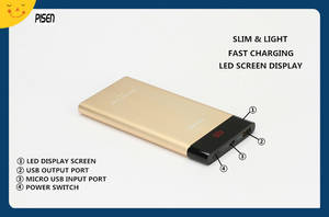 Wholesale mobile phones charger: Hot Slim Pisen Power Bank 10000mAh LED Display External Battery Charger for Mobile Phone