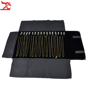 Wholesale velvet: Portable Velvet Jewelry Display Necklace Storage Pouch Roll Bag with Metal Corner