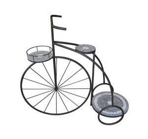Wholesale pot stand: Bicycle Wrought Iron and Mosaic Flower Pot Stand