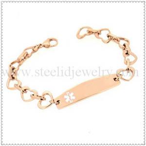 Wholesale gold bracelets: Rose Gold Heart Medical ID Bracelet