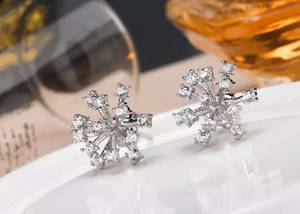 Wholesale gold earrings: Snowflake Earrings S925 Silver and 18 K Gold