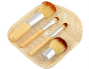 Wholesale makeup brush: Bamboo Handle Makeup Brush 4pcs Travel Kit with Linen Bag