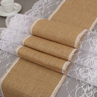 30x275cm Burlap Lace Hessian Table Runner Cloth Jute Christmas Birthday Wedding Party Decoration Hom