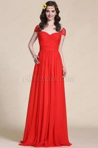 Wholesale wedding dresses: Cap Sleeve Sweetheart Red Evening Dress Bridesmaid Dress