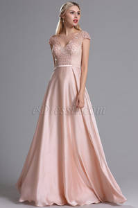 Wholesale prom dresses: Pink V Neckline Embroidery Beaded Prom Dress