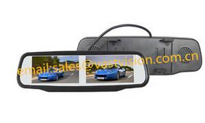 Wholesale car monitor: 9-inch 4 Split Quad Car Rear View Mirror LCD Monitor with 4 AV Input