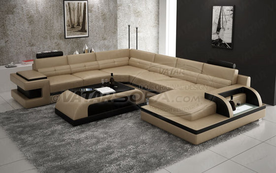U shape leather sofa from vatar furniture industrial co - Sofas italianos modernos ...