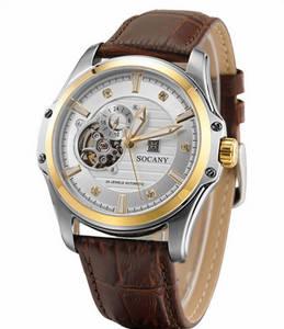 Wholesale wrist watch: Luxury Genuine Leather Automatic Mechanical Stainless Steel Wrist Watch