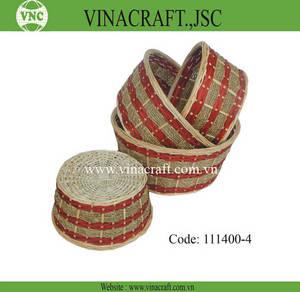 Wholesale handmade: Handmade Bamboo Fruit Basket with Red Line