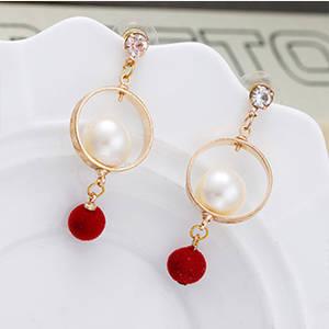 Wholesale gold earrings: Wholesale Fashion Gold Pearl Earrings Women Red Ball Crystal Earrings Classic Popular Long Earrings
