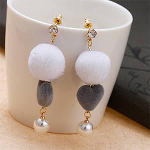 Wholesale Earrings: 2017 Fashion White Rabbit Hair Ball Stud Earrings   Zircon Earrings Women Heart Drop Earrings