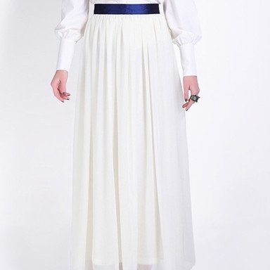 High Waist Long Pleated Chiffon Skirt White Product details - View ...