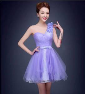 Wholesale wedding gown: 2015 Top Purple Ball Gown One Shoulder Short/Mini Lace Wedding Dress Bandage Flowers Decoration