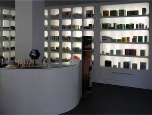 Wholesale led pharmacy display: White Glossy Color Pharmacy Display Cabinet with LED Lights