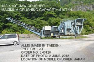 Wholesale mobiles: Used ALLIS SVEDALA-ARBRA Type CM-120F Mobile Crusher