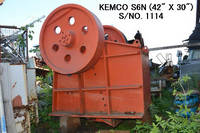 "USED ""KEMCO"" MODEL S6N (42 X 30) SINGLE TOGGLE JAW CRUSHER S/No. 1114"