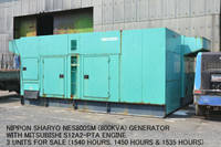 "Used Nippon Sharyo NES800SM (800KVA) Generator with ""Mitsubishi"" S12A2-PTA Engine."