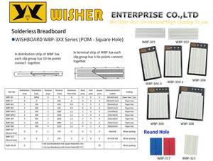 Wholesale test strips: Solderless Breadboard, WISHBOARD WBP-3XX Series(POM - Square Hole)