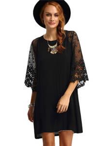 Wholesale Dresses: Black Sexy Fashion Slim Lace Hollow Out Party O Neck Flower Medium Dress