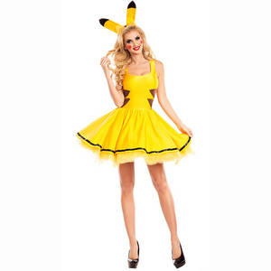 Wholesale sexy costume men: Pikachu Cosplay Halloween Costume Women Christmas Party Dress Adult Animal Sexy Clothing Headwear