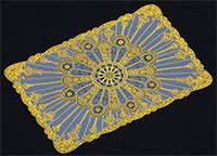 Lotus Flower Rectangular Plastic PVC Placemat Dinning Eat Mat Gold Color 30cm*45cm