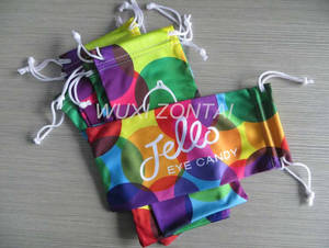 Wholesale sunglass: Microfiber Eyeglass/Sunglass Pouch/Bag in Heat Transfer Printing with Double Pull