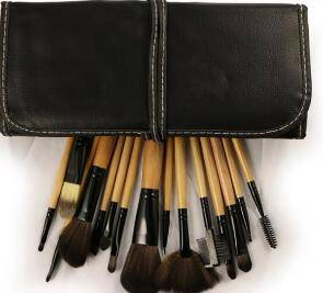 Wholesale beauty tool: 15 PCS Soft Synthetic Hair Make Up Tools Kit Cosmetic Beauty Makeup Brush Black Sets with Leather Ca