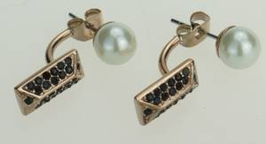 Wholesale earring: Stainless Steel Earrings, Pearl and Zircon