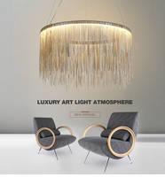 Nordic Minimalism Aluminum Tassel Foyer LED Pendant Light Lustre Round Metal Bedroom LED Hanging Lig