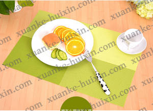 Wholesale dining placemat: Woven Vinyl Washable Table Mat ,Interweave PVC Print Vinyl Placemat , Durable Tablemat