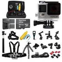 NEW GoPro HD HERO 4 Black Edition 4K Genuine Go Pro Video Camera + FREE POV Case