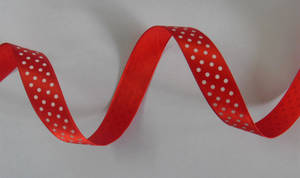 Wholesale red dot: Red Satin with White Dots Printing