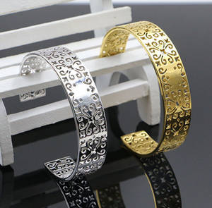 Wholesale gold bangles: Charming Newest Stainless Steel Gold Plated Bangle