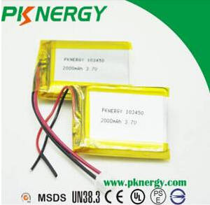 Wholesale battery cell: Hot Selling 3.7V 2000mAh 103450 Lipo Battery Rechargeable Battery Li Ion Battery Cell with UN38.3