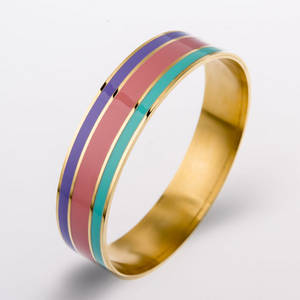 Wholesale gold bangles: Wholesale Fashion Plated Gold Stainless Steel Colorful Bangles