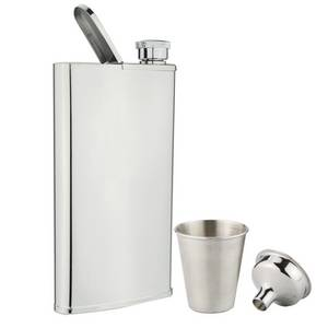 Wholesale beverage: 4OZ 18/8 Stainless Steel Hip Flask with Built in Cigar Case