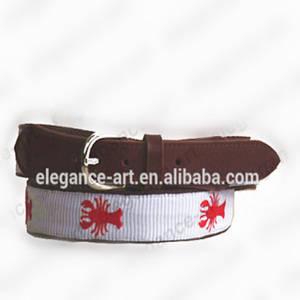 Wholesale Fabric Belts: Hand-stitched Needlepoint Panel Belt with Genuine Leather Backing