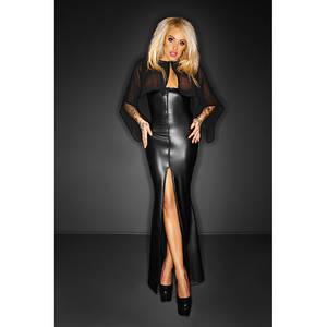 Wholesale Dresses: Women Black Long Wetlook Dress with Cape Wetlook Vinyl Leather Clubwear Gothic  Hot Dress W860717