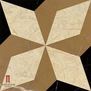 Wholesale border mosaic: Spain Nero Medallion Mable Carpet Medallions Ceramic Backed High Polished Marble