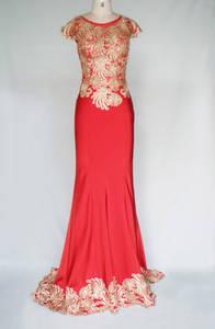 Wholesale prom dresses: HY1007 Luxury Beaded Embroidery Chiffon Silk Prom Evening Dress