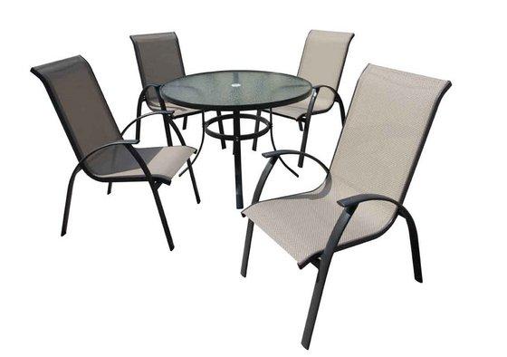 Outdoor Furniture Patio Furniture 5 PC Dining Set Textilene Chair Glass Ta