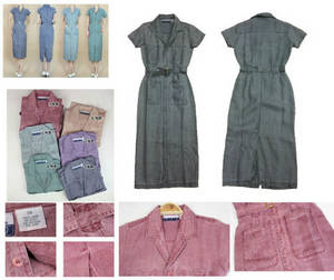 Wholesale fashion belt: Women's Fashion Slim Colorful Single Breasted Belted Linen Fabric Casual Dress