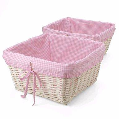White Wicker Basket With Pink Gingham Liner Set Of 2