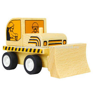 Wholesale wooden cars: Freewheeling Construction Wooden Car Bulldozer