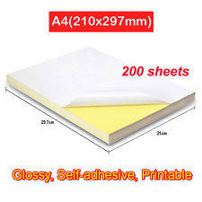 Wholesale self adhesive labels: 200 Sheet A4 White Glossy Self-Adhesive Sticker Label Laser Inkjet Print Paper