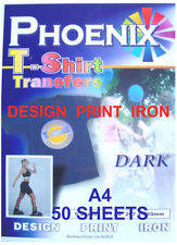 Wholesale ink: IRON ON T TEE Shirt DARK Transfer Paper A4 50 Sheets Ink Jet Printers