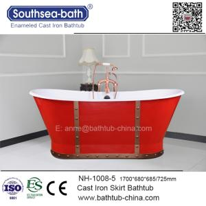 Wholesale bathtub: NH-1008-5-REDRivet Cast Iron Bathtub with Skirt Optional