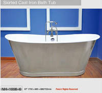 NH-1008-6 Stainless Steel Skirt Cast Iron Bathtub