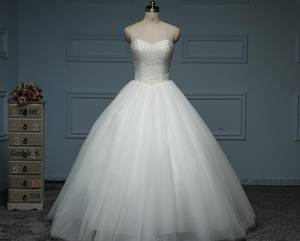 Wholesale flower girl dress: Elegant Ball Gown Tulle&Satin Strapless Sequins Beading&Crystals Floor Length Wedding Dress
