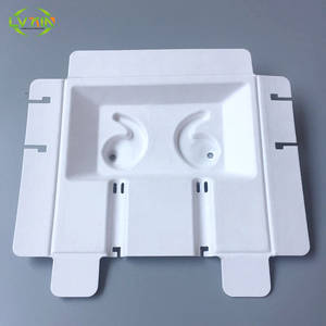 Wholesale earphone: Recyclable Sugarcane Bagasse Small Wired Earphone Electronics Paper Inner Tray Packaging Pulp Mold